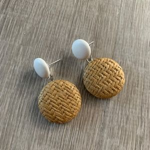 NWT WICKER / RATTAN EARRINGS - Small Button